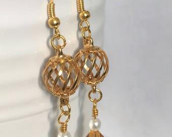 Gold Earrings-Yellow Earrings-Swarovski Crystal Earrings-Handmade Gold Earrings-Victorian Style Earrings-Formal Jewelry-Sweet Beads By Jenny
