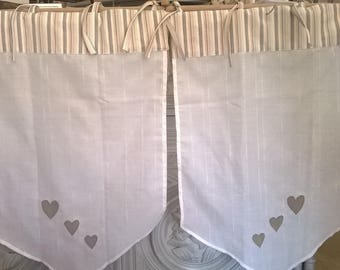 Pair of curtains bise breeze pattern white hearts - made by hand in the workshop in France - Hand made in France
