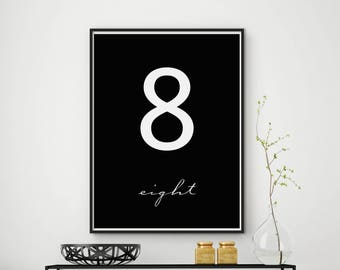 Number 8, Number 8 printable art, Number 8 wall decor, Number print, Number poster, Number download, Number art print, Numeral print