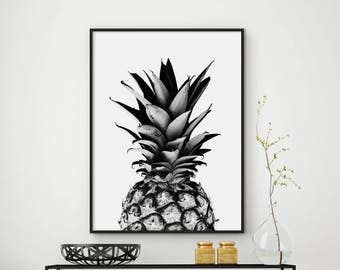 Sale!!! Pineapple Print, Black and White Pineapple, Tropical Art, Kitchen Art, Pineapple Wall Decor, Fruit Print, 50x70 Print