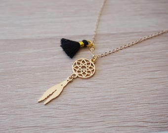boho gold necklace with tassel - Bohemian MOM daughter sister jewelry and dream catcher pendant