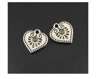 set of 3 Bohemian Aztec tribal Silver (B37) heart charms