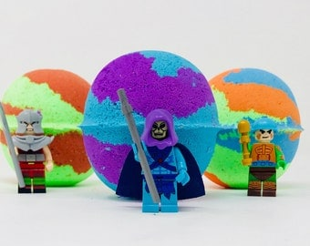 New! 3 7.0 oz He-Man Block Lego Figure & Friends Inspired Kids Bath Bombs Bithday / Easter Egg Gift Party Favor Set with Toy Inside.