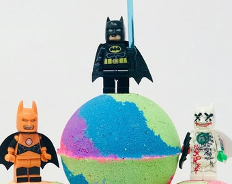 2 or 5 Lego Block Batman Inspired 7.0 oz Birthday /  Easter Egg Bath Bomb Gift Sets with Surprise Toy Inside