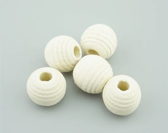 20pcs 20mm Natural Polyhedron Round Wood Beads, Whorl Wooden Beads MZ019