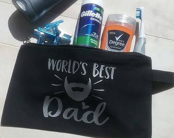 Worlds Best Dad- Shave Bag-  Cosmetic- Travel Case- Fathers Day Gift - Mens Toiletry Bag -  Shaving Bag - Mens Shaving Kit - Shave Bag