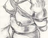 Etude de nu (bondage) -  encre fusain sur papier