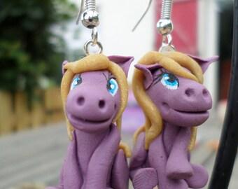 "Earrings ""little pony"" cold porcelain"