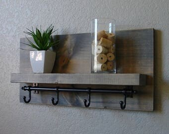 Modern Rustic Bathroom Shelf with Rail Hooks