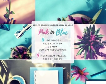 Lifestyle Photography, Floral Bundle, Pink and Blue Backgrounds, Product Backdrop, Instagram Bundle, Social Marketing Photo, Flat Lay Photo
