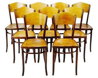 Set of 9 Vintage 1920's Fischel Bentwood Cafe Chairs Thonet Bentwood Style