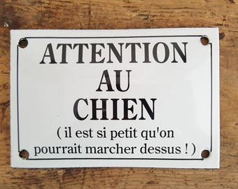 French enamel plaque accounting humor (beware of dog)