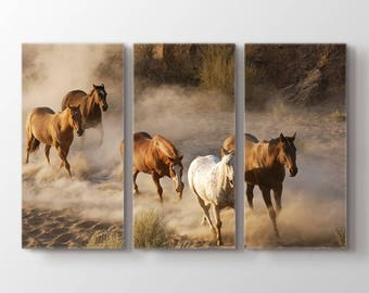 Large Wall Art 5 Horses Running on Sand Canvas Print