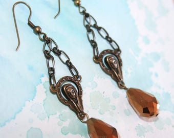 Mother Mary Copper Crystal Earrings