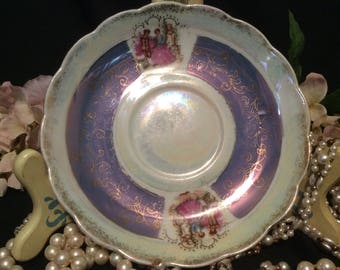 Lusterware Tea Saucer, Pearlescent with Purple Border, Gold Trim and Dancing Victorian Couple
