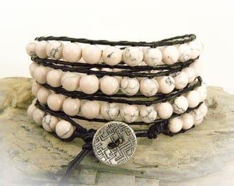 Pink Wrap Bracelet, Leather Wrap, Pink Bracelet, Beaded Leather Wrap, Wrap Bracelet, Leather Bracelet, Boho Chic Bracelet, Gift for Her