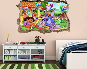 Dora The Explorer 3D Smashed Wall Sticker Decal Home Decor Art Mural Kids  J527