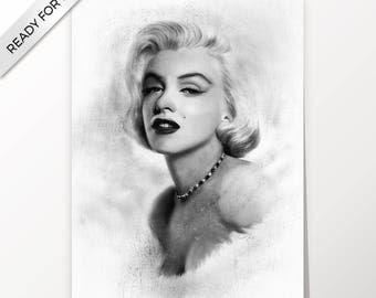 Marilyn Monroe, artwork, handmade, PRINTABLE art, poster, instant download, digital print, home decor, wall art, decor, fine art, download