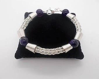 Silver Bracelet Handmade Silver Plated Viking Knit Bracelet with Amethyst Beads Viking Knit Weave Bracelet A Perfect Gift for any Occasions