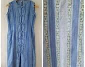 Vintage 90s blue cotton denim Chinese dress with button up, Aztec print summer Dress, denim dress, size small