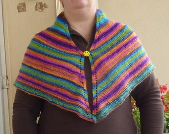 Rainbow colored triangle shawl