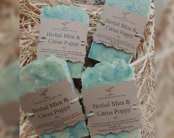 Herbal Mint & Citrus Poppy Handmade Soap 5oz.