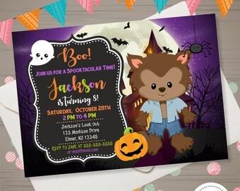 Werewolf Invitation Halloween Birthday Invitation Boy Halloween Invite Werewolf Halloween Invitation Halloween Party Costume Party Invite
