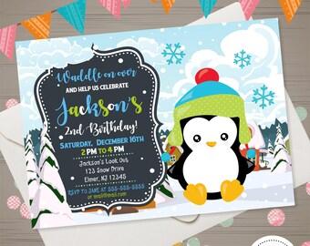 Penguin Invitation, Boy Penguin Birthday Invitation, Winter 1st Birthday Invitation, Penguin Party, Winter Fun Invitation, Penguin Invite