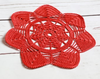 crochet doily, red orange doily, round cup coaster, mug rug, red  table decor, 19 cm 7.5 inch doily, table placemat, handmade  lace doily