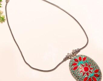 Red coral navajo gemstone  silver necklace