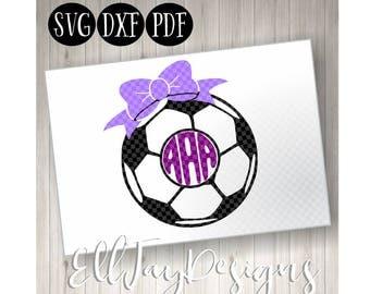 Soccer Ball Svg bow, Soccer ball monogram, Soccer, Soccer Monogram svg, soccer ball, soccer circle mongram, silhouette, soccer cut file free