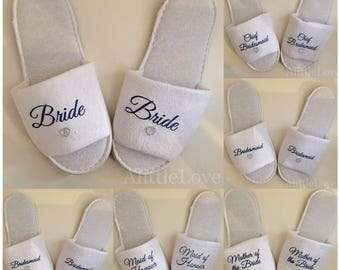 Personalised, Wedding Slippers, Bride, Bridesmaid, Flowergirl, Comfy, Gifts.