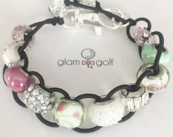 Classy Beaded golf score stroke counter bracelet or clip on your golf bag with pink, green crystal beads.