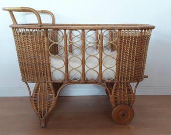 Rattan Crib Bassinet Cradle with Wheels Bohemian Baby