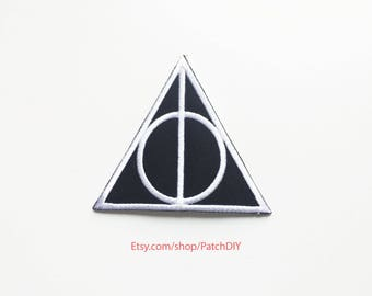 Patch Deathly Hallows Harry Potter iron on embroidered academy costume Wizard Magic DIY bag hat tie vest halloween kid Hogwarts custom