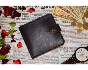 Men's wallet made of genuine leather, handmade