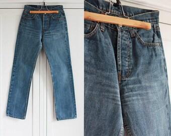 Levi's 501 Vintage Jeans High waisted Dark blue denim Men Women Unisex trousers Retro 1990s clothing W30 L32 / Medium size
