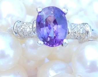 Real Sapphire Ring,  Purple Sapphire 1.60 cts. Ring, Lavender Sapphire Ring, Engagement ring, Sapphire in Sterling Ring size 6.25