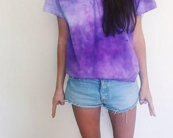 "Purple ""crumpled"" tie dye shirt"
