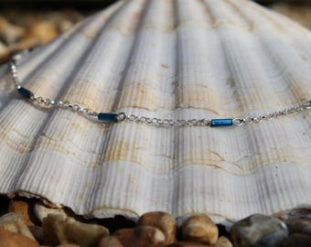 Silver choker necklace, bead, sterling silver necklace, chain choker, dainty, silver jewelry, boho, gift, mother's day, birthday, delicate