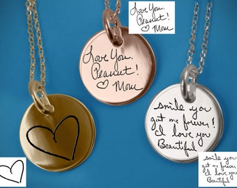 Silver Necklace Actual Handwriting Jewelry Personalized Jewelry Memorial Jewelry Handwriting Necklace Signature Custom Handwriting Necklace