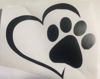 3 inch paw print and heart vinyl decal