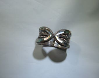 Vintage Mexican sterling silver and abalone shell cuff bracelet