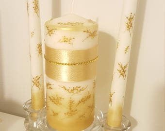 Unity candles, set of 3, handpainted decoration, white and gold colors.