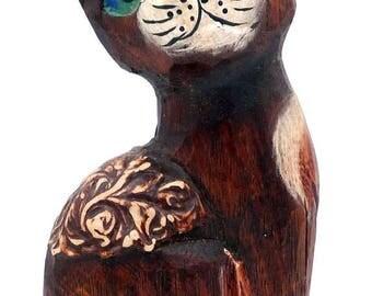 Wooden cat, vintage cat, cat figurine, vintage figurine, wooden figurine, wood figurine, vintage wood, cat ornament, cat collectible