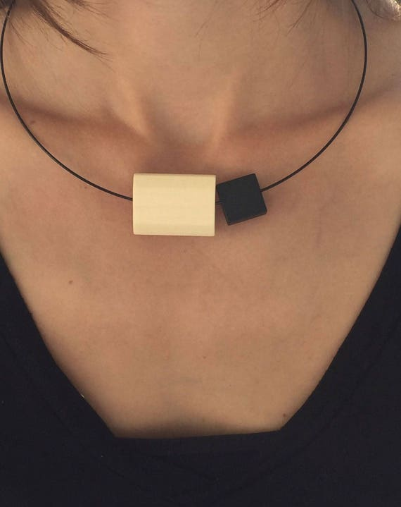 Necklace Necklace black wood with wooden rectangle