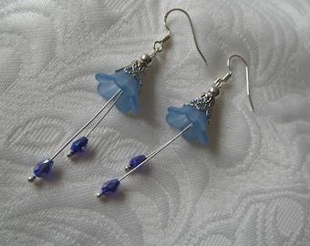 Sterling silver raindrop flower earrings