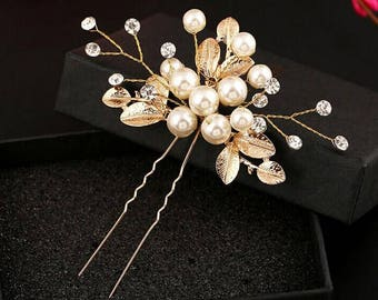 2pcs SET New Handmade Wedding Gold Leaf and Pearl Flower Bridal Hair Pins UK