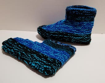 Adult Pull On Knitted Slippers with Ankle Cuff
