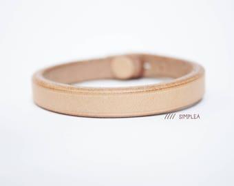 Natural Hermann Oak Vegetable Tanned Leather Bracelet